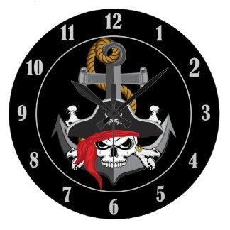 Pirate Skull Anchor Large Clock