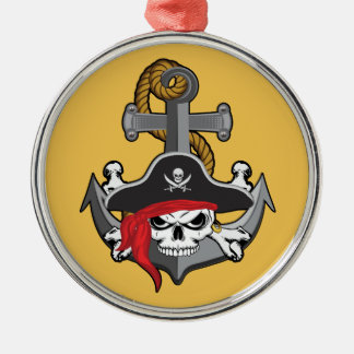 Pirate Skull Anchor Silver-Colored Round Decoration