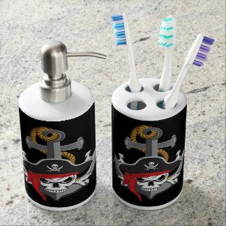 Pirate Skull Anchor Soap Dispenser And Toothbrush Holder