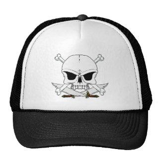 Pirate skull and cross bones 2 mesh hat