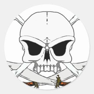 Pirate skull and cross bones 2 round sticker