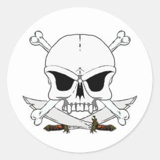 Pirate skull and cross bones 2 stickers