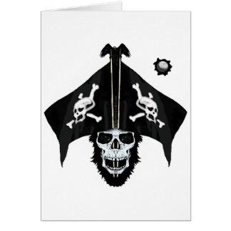 Pirate skull and cross bones greeting card