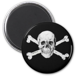 Pirate Skull and Crossbones 6 Cm Round Magnet