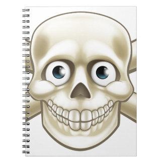 Pirate Skull and Crossbones Cartoon Spiral Notebook