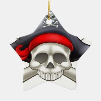 Pirate Skull and Crossbones Ceramic Star Decoration