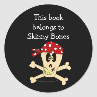 Pirate Skull and Crossbones Custom Bookplate Round Sticker