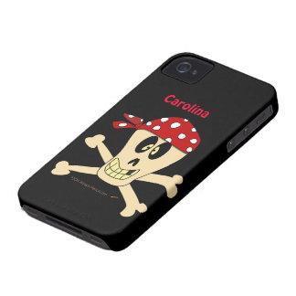 Pirate Skull and Crossbones Custom Name iPhone 4 Case