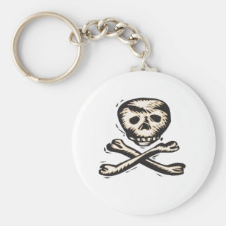 Pirate Skull and Crossbones design Basic Round Button Key Ring