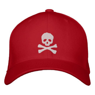 Pirate Skull and Crossbones Fitted Embroidered Baseball Cap