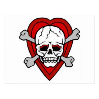 PIRATE SKULL AND CROSSBONES HEART TATTOO PRINT POSTCARD