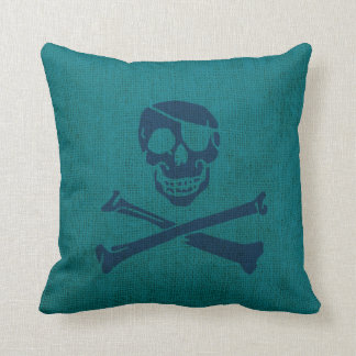 Pirate Skull and Crossbones in Ocean Green Blue Cushion