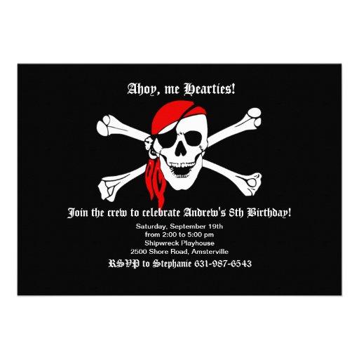Pirate Skull and Crossbones Invitation