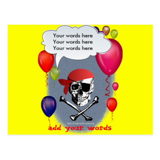 Pirate Skull and Crossbones party Postcard