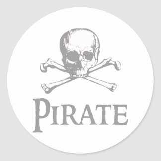 Pirate Skull and Crossbones Round Sticker