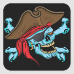 Pirate Skull and Crossbones Square Stickers