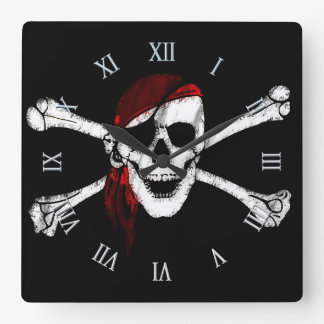 Pirate Skull and Crossbones Square Wall Clock