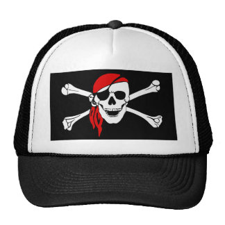 Pirate Skull and Crossbones with Red Bandana Cap