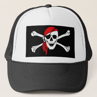 Pirate Skull and Crossbones with Red Bandana Trucker Hat