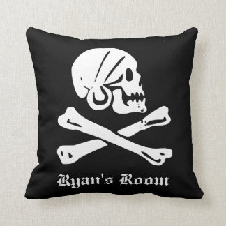 Pirate Skull and Crossed Bones Throw Pillow