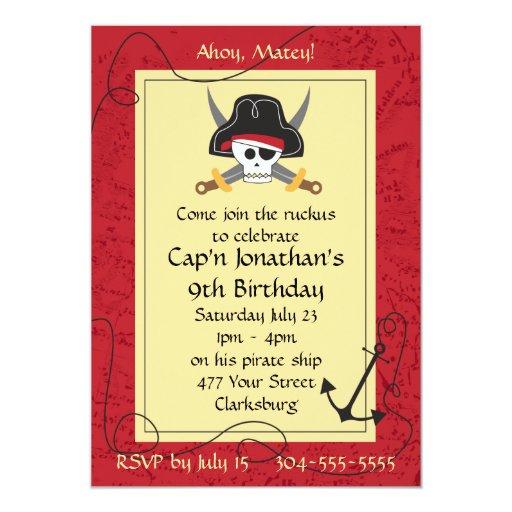 Pirate Skull and Crossed Swords Birthday 13 Cm X 18 Cm Invitation Card