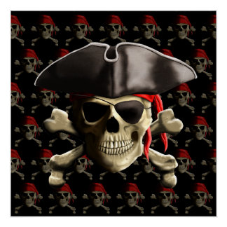 Pirate Skull And Hat Poster