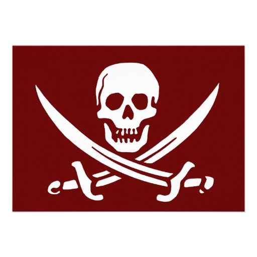 Pirate Skull and Swords,Jolly Roger Personalized Invite