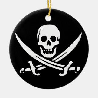 Pirate Skull and Swords Round Ceramic Decoration