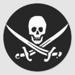 Pirate Skull and Swords Round Sticker
