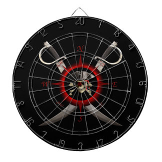 Pirate Skull Compass Rose Dartboard
