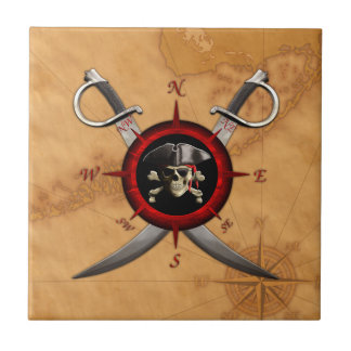 Pirate Skull Compass Rose Tile
