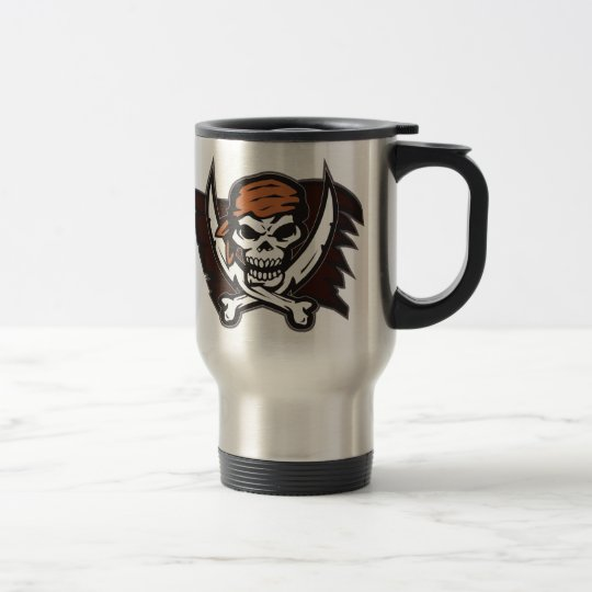 Pirate Skull Crossbones Double Sided Print Travel Mug