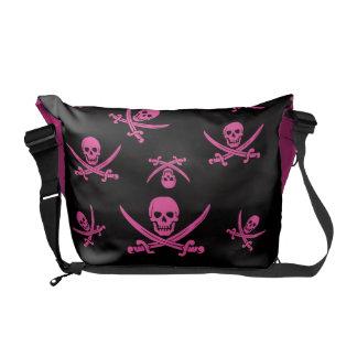 pirate skull crossbones pink courier bag