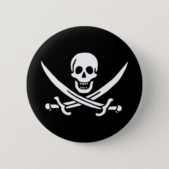 Pirate Skull Crossed Swords Jolly Roger Flag 6 Cm Round Badge