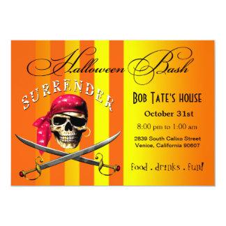 Pirate Skull Halloween Bash   yellow orange 13 Cm X 18 Cm Invitation Card
