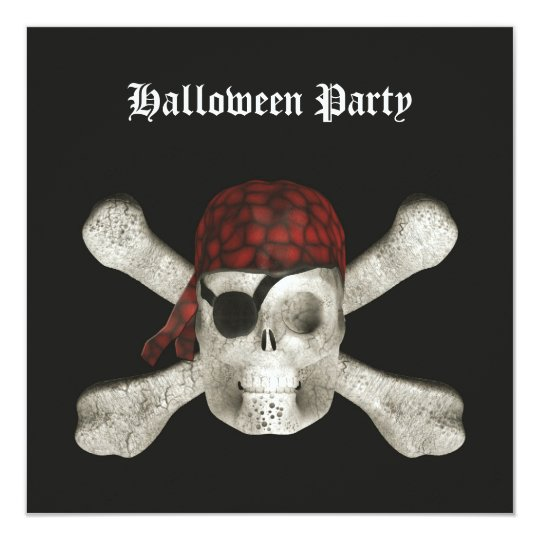 Pirate Skull - Halloween Party Invitation