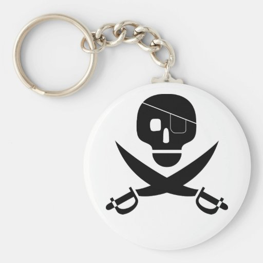 Pirate Skull KeyChain:Choose Your Background Color