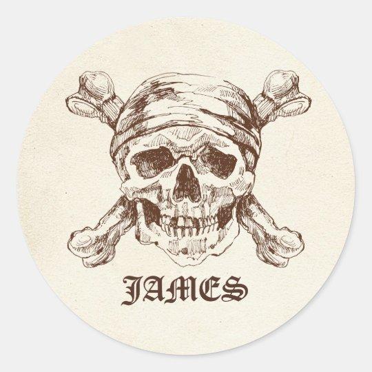Pirate Skull n Cross Bones Custom Name Stickers