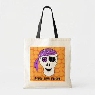 Pirate Skull Personalized Halloween Trick or Treat Tote Bag