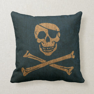 Pirate Skull Rustic Deep Sea Blue Throw Pillow