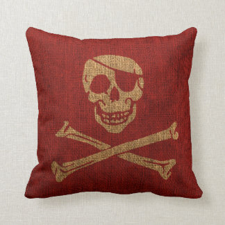 Pirate Skull Rustic Red Throw Pillow