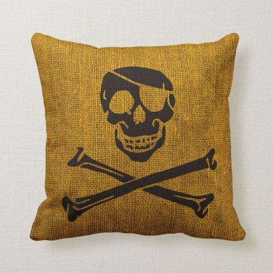 Pirate Skull Rustic Yellow Black Cushion