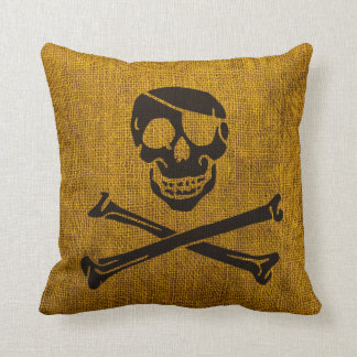 Pirate Skull Rustic Yellow Black Throw Pillow