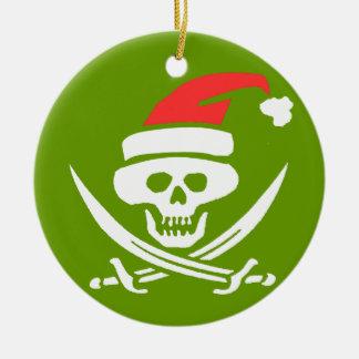 Pirate Skull Santa Jolly Roger Round Ceramic Decoration