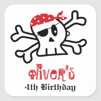 Pirate Skull Skeleton Birthday Party Favor Sticker