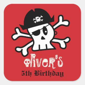 Pirate Skull Skeleton Birthday Party Favor Sticker