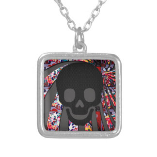 pirate skull square pendant necklace