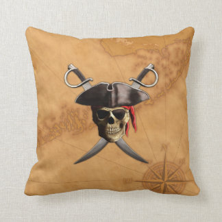 Pirate Skull Swords And Map Cushion