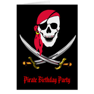 Pirate Skull & Swords Birthday Party Card