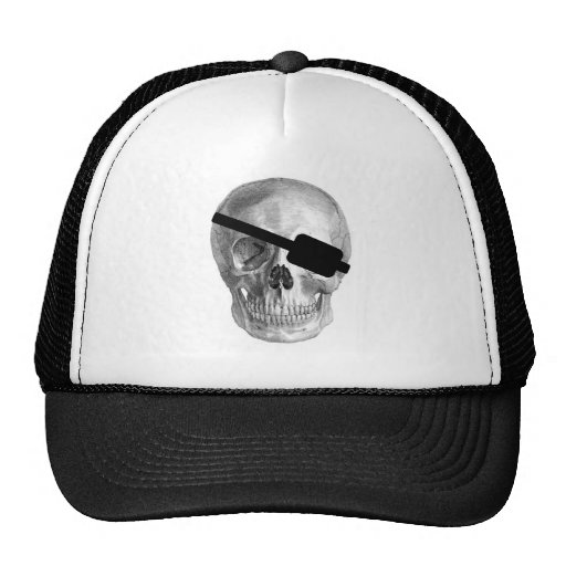 PIRATE SKULL VINTAGE PRINT TRUCKER HATS